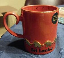 LUV SL FireEngine Red, 22ct Gold Trimmed 10oz Ceramic Mug Elephants Sri Lanka