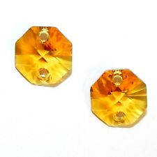 SCOX145 TOPAZ Orange 14mm Faceted 2 Hole Octagon Link Swarovski Crystal Bead 2pc