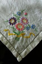Vintage French Embroidered Flower bouquets Linen Tablecloth c1930