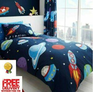 Children's Single Set Duvet Cover & Pillowcase, Theme Outer Space
