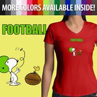 Juniors Girls Women Tee T-Shirt Snoopy Peanuts Woodstock Football Sports Comics