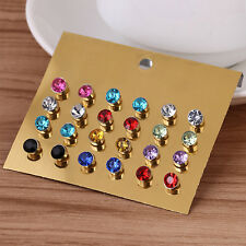 Newest 12 Pair Women Rhinestone Crystal Pearl Ear Stud Earrings Set Jewelry Gift