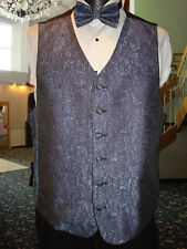 Periwinkle Floral Pattern Formal Vest w Matching Bow & Hanky Fullback - Mens L
