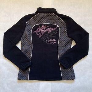 Harley Davidson Women's Pink Label Fleece Jacket, Black Pink, Size M, 98561-15VW