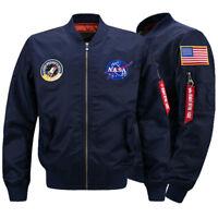 Men's Thick Jacket US NASA  Warm Winter MA1 Flight Bomber Coat Baseball Outwear