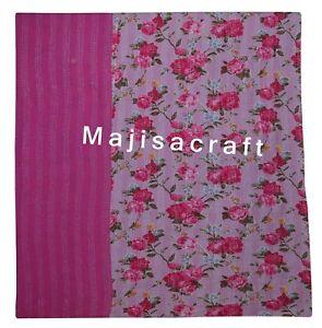 Indian Kantha Cotton Quilt Handmade Bedspread Reversible Bedding Pink Floral Art