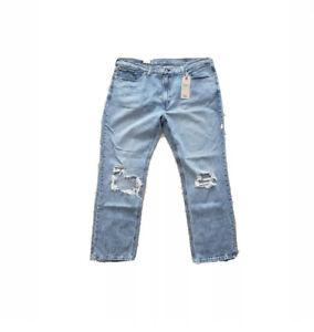 Levi's Men's 541 Athletic Taper Jeans Size 37x32 Light Blue Stretch Distressed