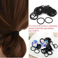 50Pcs/Bag Small Black Elastic Hair Ties Ropes Ring Ponytail Holder Accessories