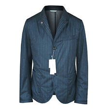 NANAMICA casual navy blue chalk-stripe soft shell pinstriped blazer jacket L NEW