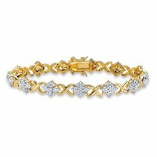 """Diamond Accent 14k Gold-Plated """"X and O"""" Bracelet 7.5"""""""