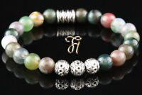 Indien Achat Armband Bracelet Perlenarmband Silber Beads Buddha 8mm