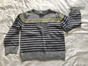 Boy's Gymboree Striped Pullover Sweater Gray, Navy and Yellow Size M 7-8