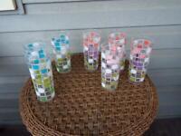 Vintage MCM Water Glasses ~ Pastel Geometric Squares On Clear Set Of 7 ~ Barware