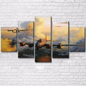 Flying Aircraft Carrier Vintage Jet Plane Aviation 5 Panel Canvas Print Wall Art