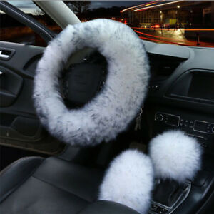 3Pcs  Fur Wool Furry Thick Cover Set for Car Steering Wheel/Knob/Parking Brake