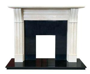 "Cream Marble Fireplace, 56"" Dublin Corbel Mantel with Granite Hearth, Back Panel"