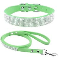 Bling Rhinestone Crystal Jeweled Leather Collar Leash set Cat Dog Puppy Pet