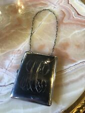 Antique Sterling Silver Purse Compact with Pencil and Compartments
