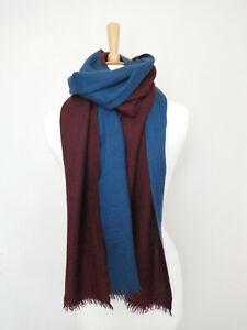 LORO PIANA burgundy blue silk cashmere fringe knit tonal scarf shawl stole Italy