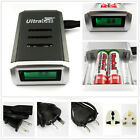 Alkaline Battery Quick Charger NiMH NiCd LCD Display RoHS for AA AAA US UK AU EU