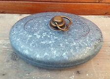 Ancienne bouilloire chaufferette, en acier galvanisé, bouchon en laiton, art pop