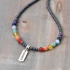 7 Chakra NAMASTE Gemstone Necklace Hematite Gemstone Rainbow beads