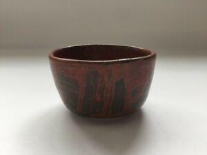 Japanese Pottery Tea Ceremony Bowl Chawan Vintage Signed Glaze Red S0017