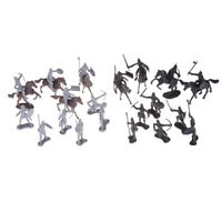 28pcs / set Cavalieri Warrior Horses Soldatini medievali Figure Mini Model To CR