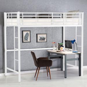 Gymax Twin Loft Bed Metal Bunk Ladder Beds Boys Girls Teens Kids Bedroom Dorm Wh