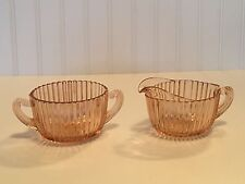 VINTAGE QUEEN MARY ANCHOR HOCKING PINK DEPRESSION CREAMER & SUGAR