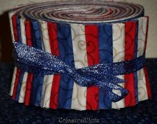 """Jelly Roll Quilt Fabric 21~2.5"""" Red Blue Cream Off White Americana Quilting Mix"""