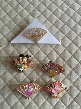Japan Disney Store Omikuji Gold Fan 5 Pin Lot, All Mint Condition!