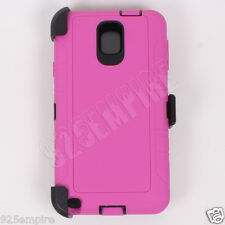 For Samsung Galaxy Note 3 Pink/Black Case Cover(Belt Clip Fits Otterbox Defender