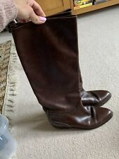 RUSSELL & BROMLEY Womens Brown Leather Knee Long Boots Size 6 UK