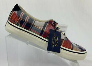 Polo Ralph Lauren Thorton III Multi Color Plaid Mens Size Boat Shoes Sneakers