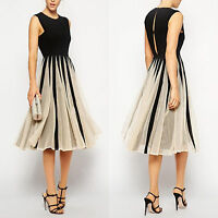 Women Chiffon Sleeveless Midi Dress Evening Cocktail Party Skater Swing Sundress