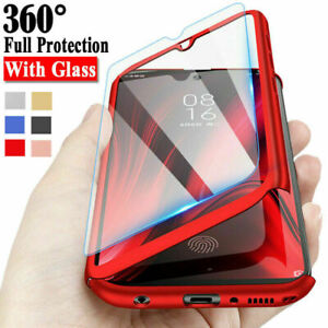 For Samsung S20 FE A21S S9 A51 A71 Full Protect Hard Case Cover + Tempered Glass
