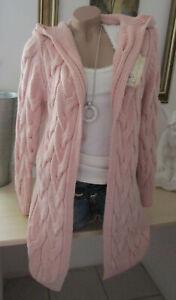 Winter Cardigan Strickjacke Jacke Kapuze Vintage Grob Zopfmuster Rosa 36 38 40
