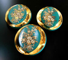 "3 Czech Vintage (1950's) Glass Buttons #B326 - 27 mm or 1""-24 CARAT GOLD FLOWERS"