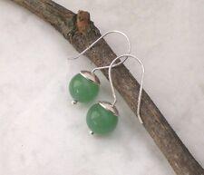 925 Silber Pure AVENTURIN Ohrringe grün, Sterlingsilber Ohrhänger schlicht r155
