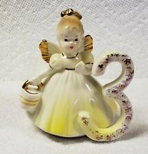 Vintage Josef Originals Birthday Angel Girl with Yellow Dress 3 Years Old 3.5""