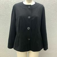 Chico's Blazer Jacket Women's Large Black Lined Button Up Long Sleeve Casual