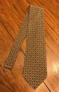 "Claiborne 100% Silk Tan Patterned 57"" L Men's Tie"
