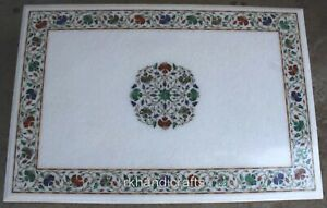 30 x 48 Inches Multi Gemstones Dining Table Top Marble Office Meeting table top