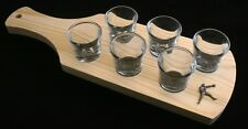 Boxer Set of 6 Shot Glasses with Wooden Paddle Tray Holder 043
