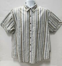 Kuhl Mens Shirt Xl Short Sleeve Beige Stripes Mountain Hiking Outdoor Camping