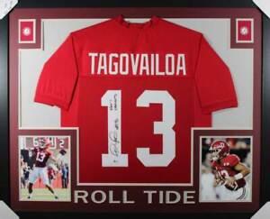 Tua Tagovailoa Signed Alabama Crimson Tide Framed Red XL Jersey BAS 31074