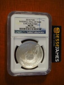 2014 $1 P UNC BASEBALL SILVER COMMEMORATIVE DOLLAR NGC MS70 EARLY RELEASES LABEL
