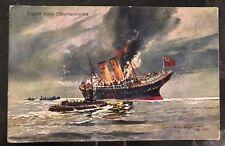 1916 Austria Kuk Feldpost Navy Picture Postcard Cover PPC U Boat Attack