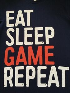 BELLA CANVAS Gamers T Shirt M Black Top Switch XBox PS Wii EAT SLEEP GAME REPEAT